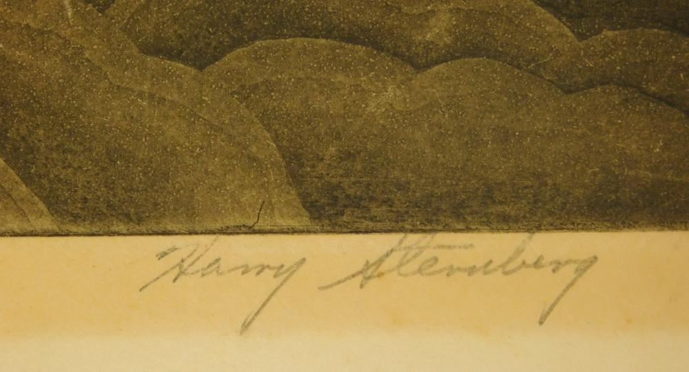 Three loose etchings, one by Harry Sternberg and two by Howard Fussiner, all signed and titled in pencil in lower margin, details in...