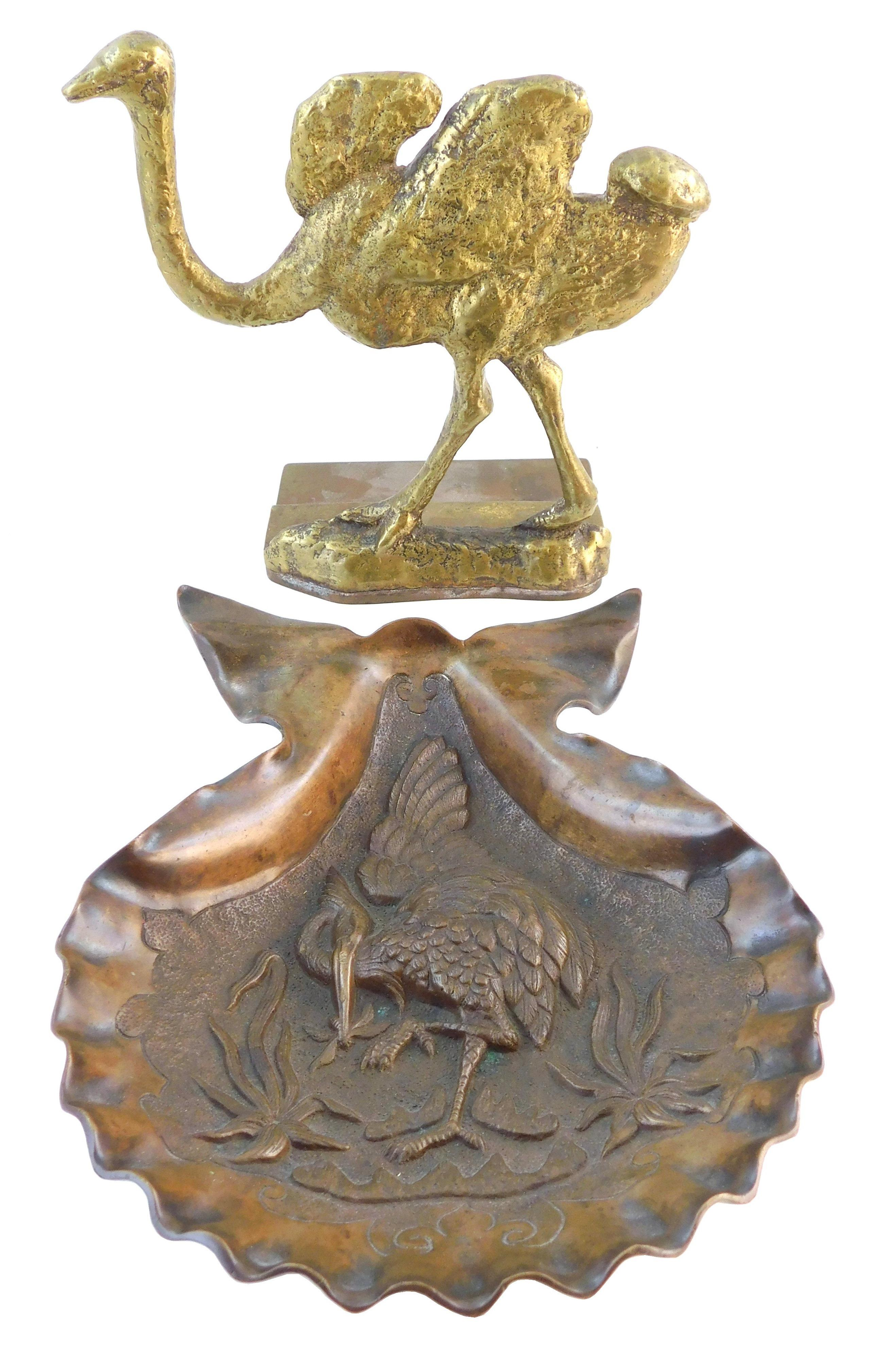 Large brass ostrich door stop and also a shell dish with heron in relief, non-magnetic, likely bronze or brass, both 19th/ early 20t...