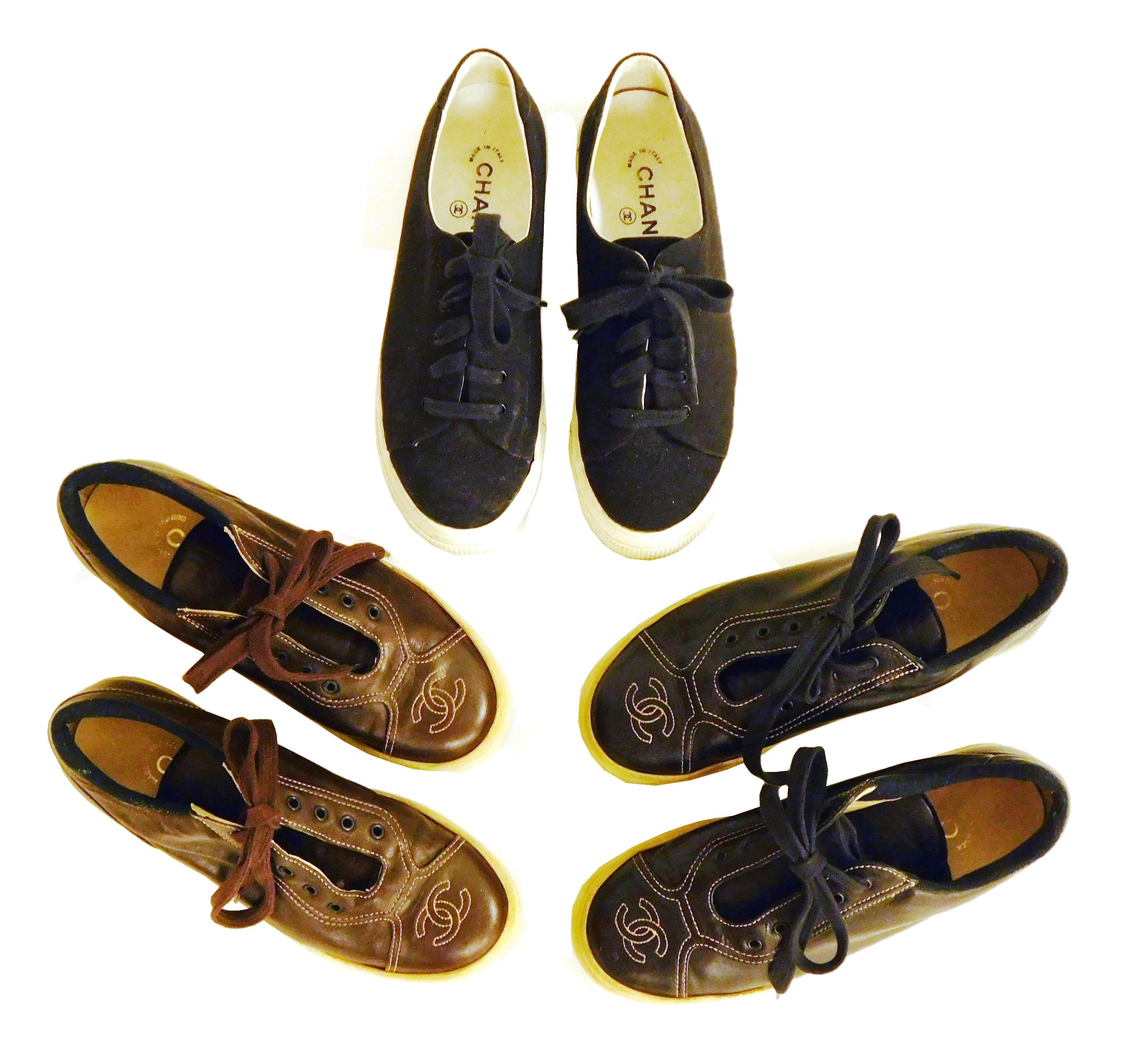 VINTAGE CLOTHING: Three pairs of women's Chanel sneakers with thick soles, all size 37, styles include: two patent leather pairs wit..