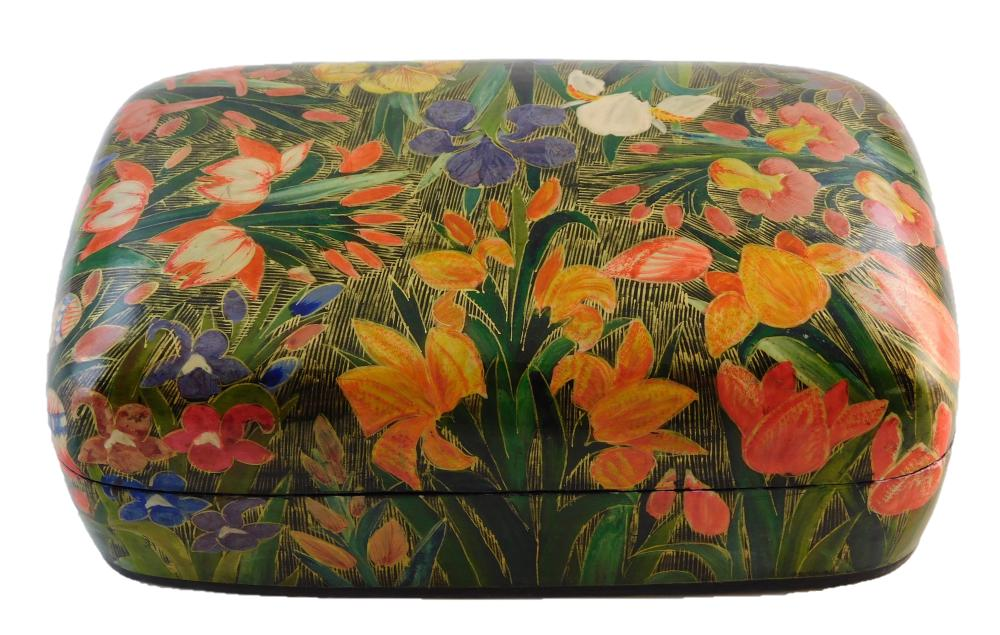 Russian hand-painted lacquer boxes, five pieces, all bird, floral and butterfly themed, all but largest signed by artist, details in...