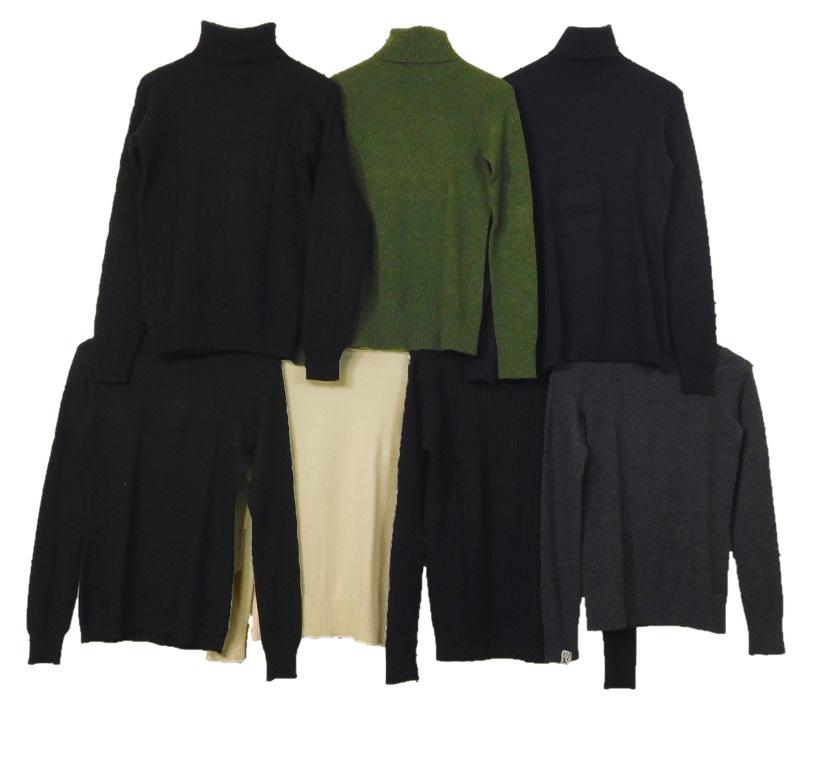 VINTAGE CLOTHING: Seven Ralph Lauren and Henri Bendel turtleneck women's sweaters, all size small, all cashmere except for two silk...