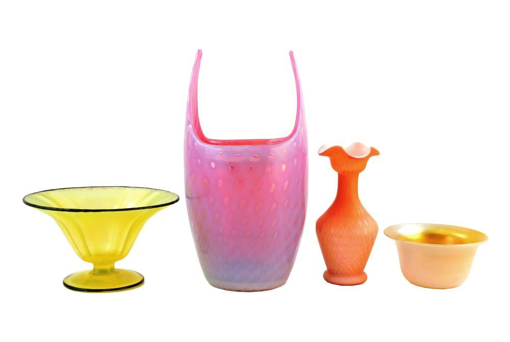 "ART GLASS: Steuben, etc., four pieces, including: Steuben Gold Aurene on Calcite finger bowl, early 20th C., 4 ¾"" diam.; an opalesce..."