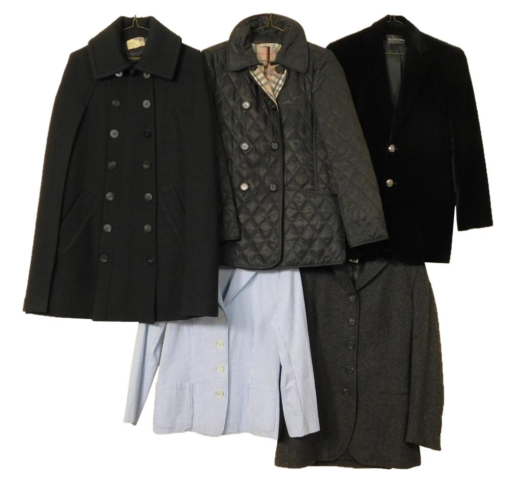 VINTAGE CLOTHING: Five women's coats, mixed designers and sizes, details include: one Burberry quilted jacket, size small; one Ralph..