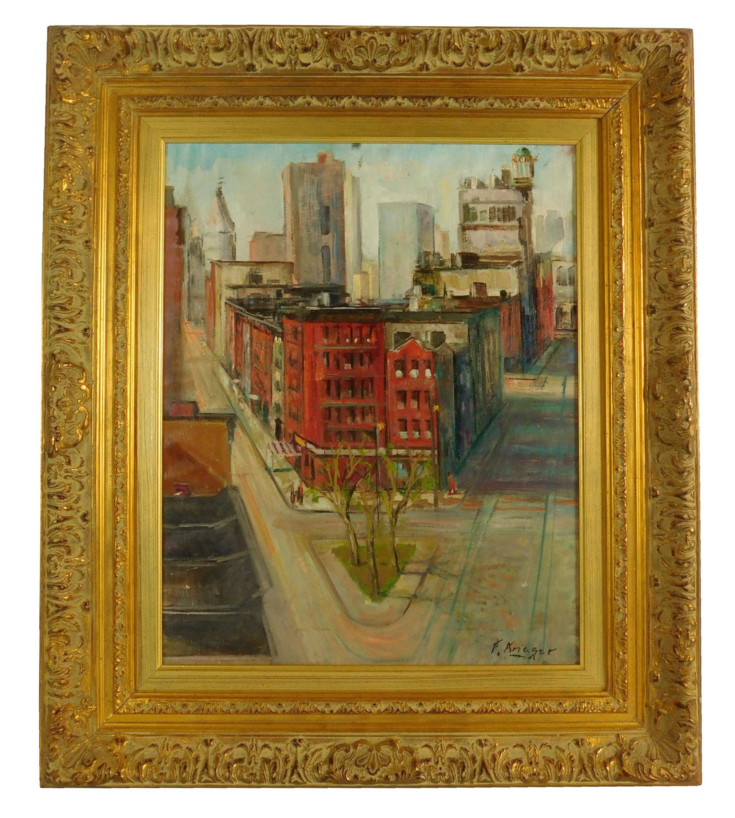 F. Krieger, oil on canvas, depicts city scene with red building at center and median with three trees in foreground, cityscape in ba...