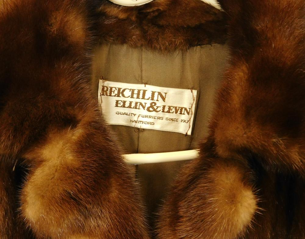 VINTAGE CLOTHING: Two fur coats by Reichlin, Ellin & Levin, Hartford, one mink and one raccoon, details include: short/ waist length...
