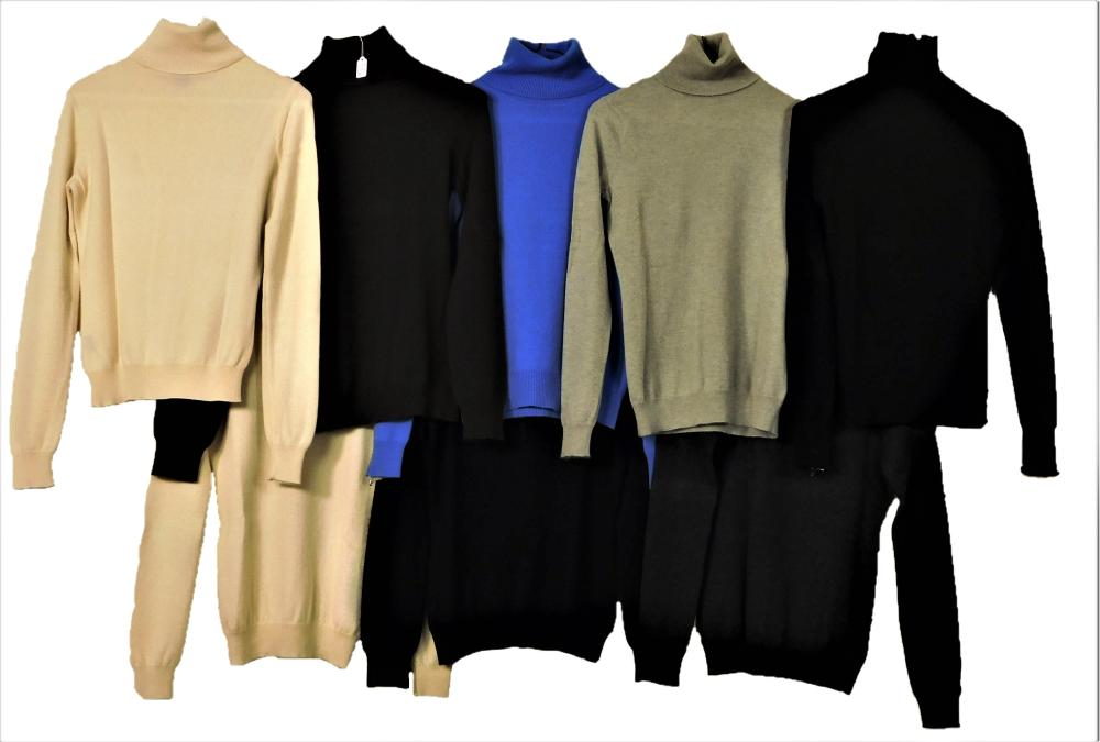 VINTAGE CLOTHING: Eight Ralph Lauren purple and black label turtleneck sweaters, all size small, 100% cashmere, colors include: two...