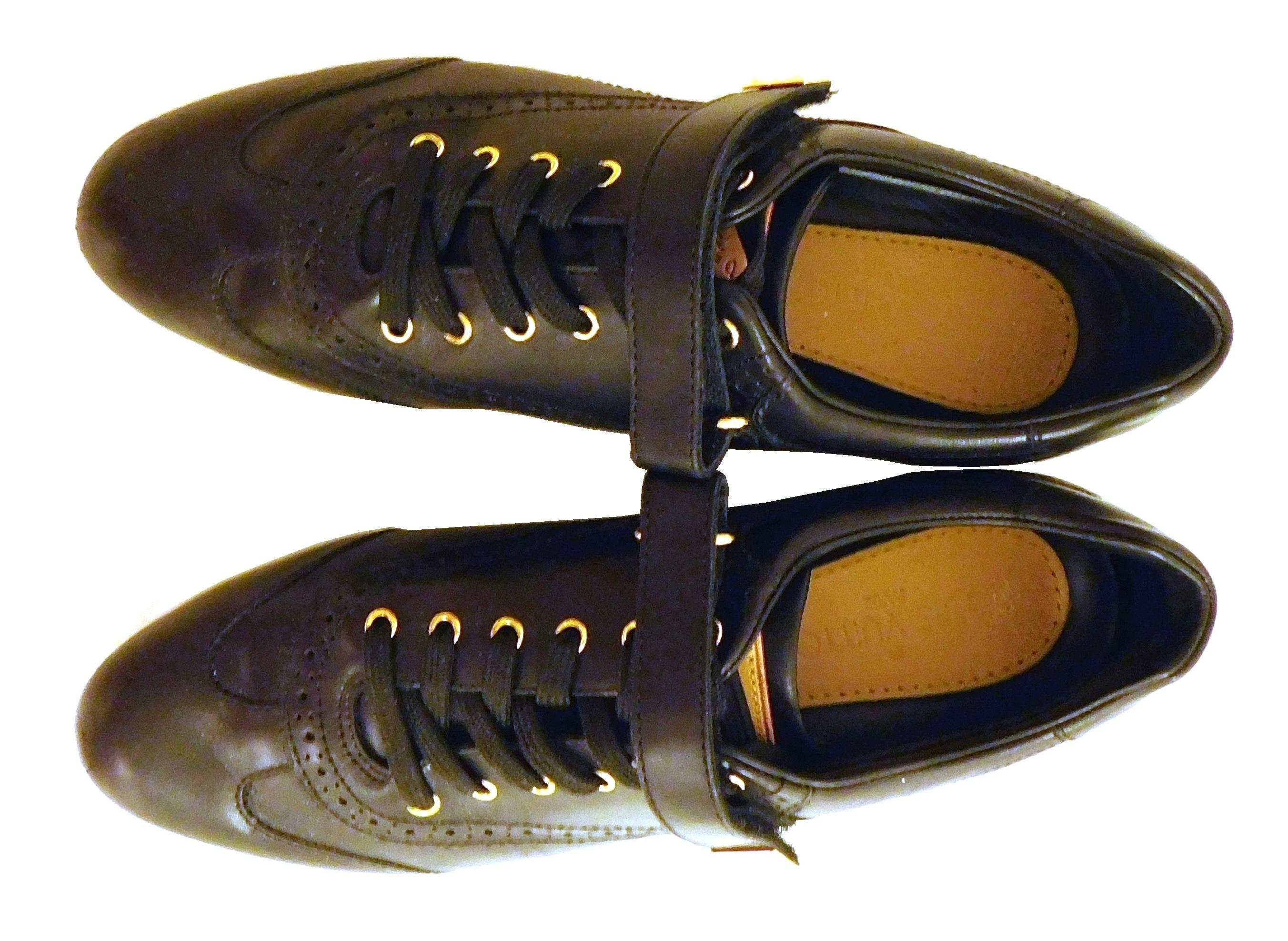 VINTAGE CLOTHING: Louis Vuitton black patent leather women's sneakers, size 37, wing-tip design and velcro strap with gold fastner a..