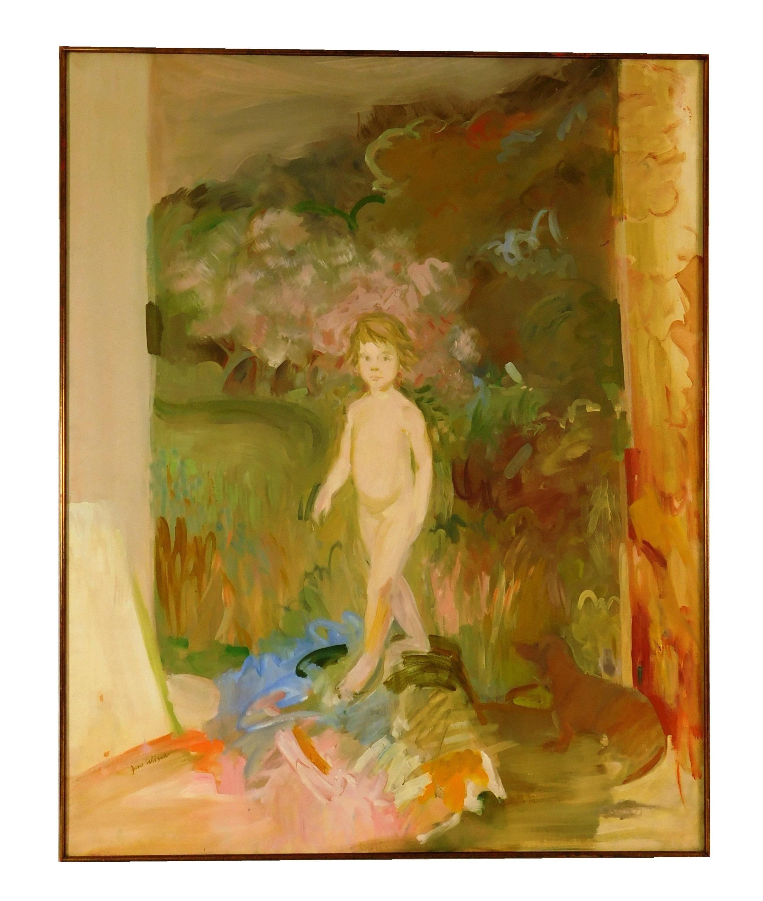 "Jane Wilson (American, 1924-2015), ""Bare Julia"", oil on canvas, depicts nude child walking through garden, small dog in lower right..."