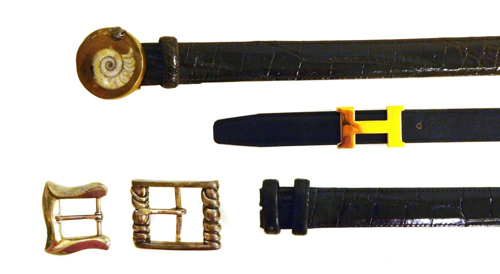 """VINTAGE CLOTHING: Three women's belts, all 26"""", details include: one Hermes black leather skinny belt with golden-tone H buckle; two.."""