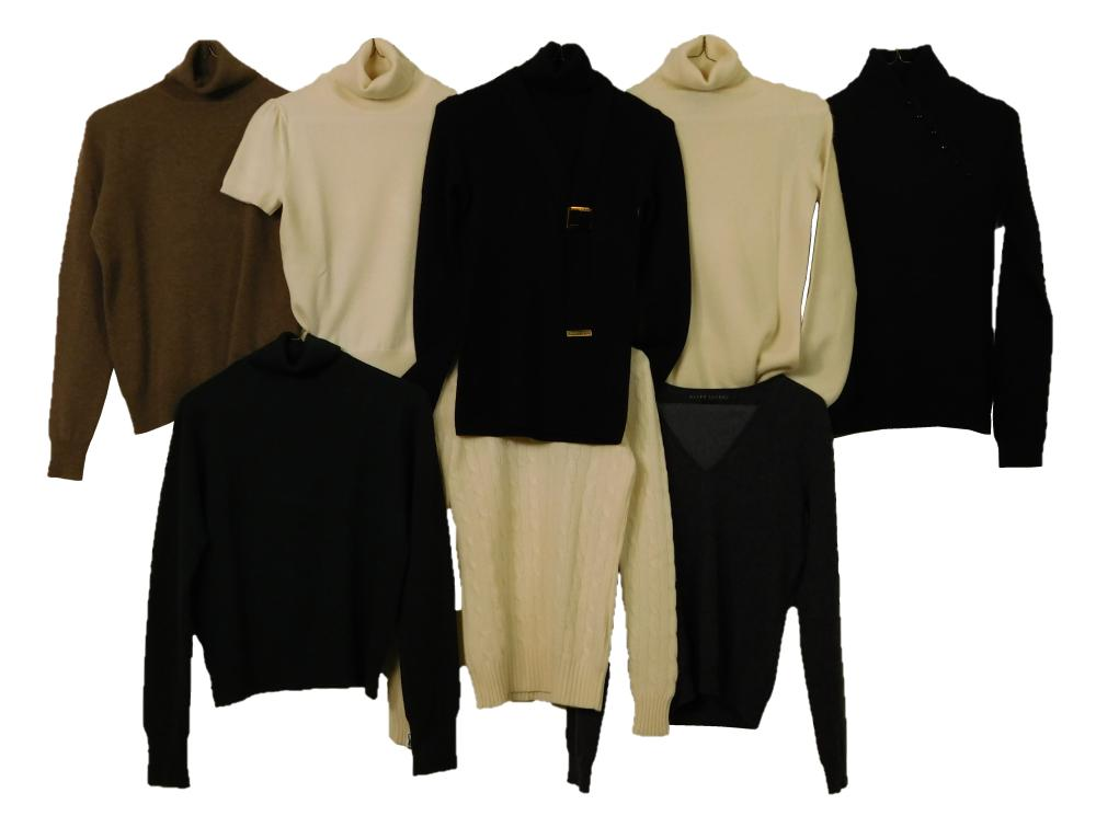VINTAGE CLOTHING: Eight Ralph Lauren purple and black label sweaters, 100% cashmere, styles include: two v-necks in grey, size mediu...