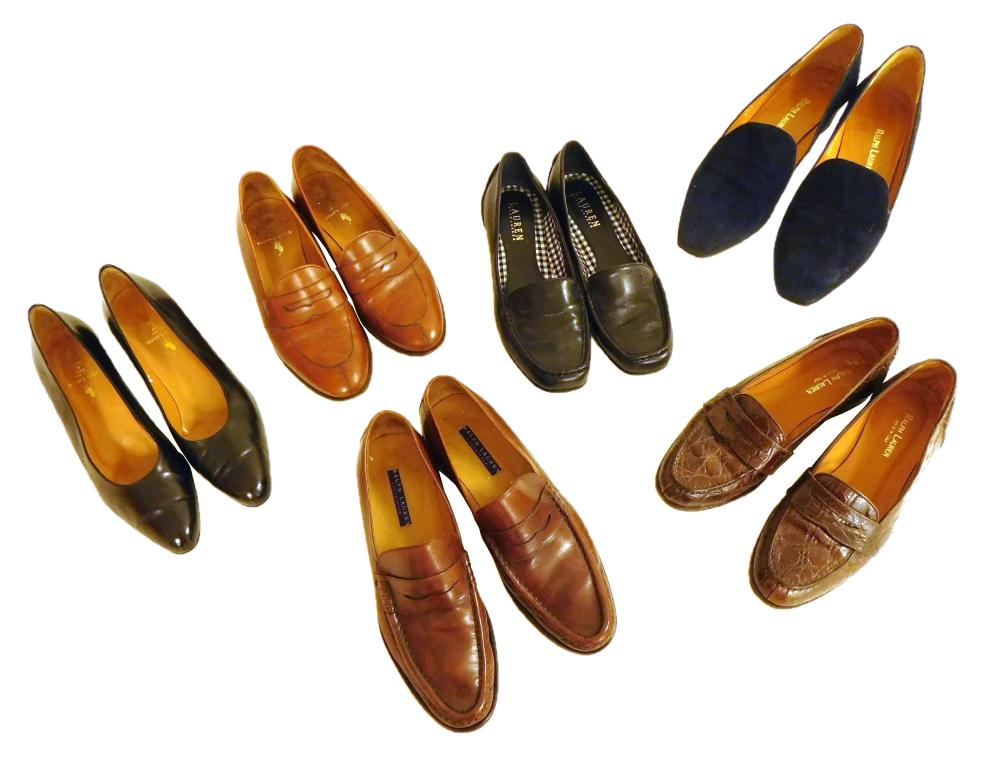 VINTAGE CLOTHING: Eleven Ralph Lauren women's shoes, all size 7, details include: three pumps, in dark navy suede, black leather, an..