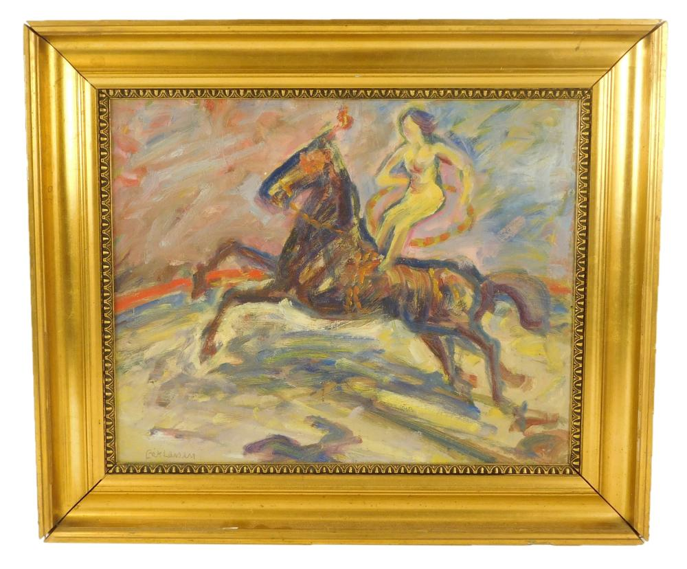Erik Larsen (Denmark, 1902-1965), oil on masonite, depicts woman acrobat riding horse while standing with a hoop, signed lower left,...