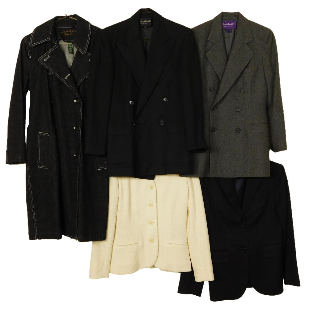 VINTAGE CLOTHING: Five women's coats, mixed designers, details include: one Brooks Brothers cashmere blazer in black, size 2P; one R..