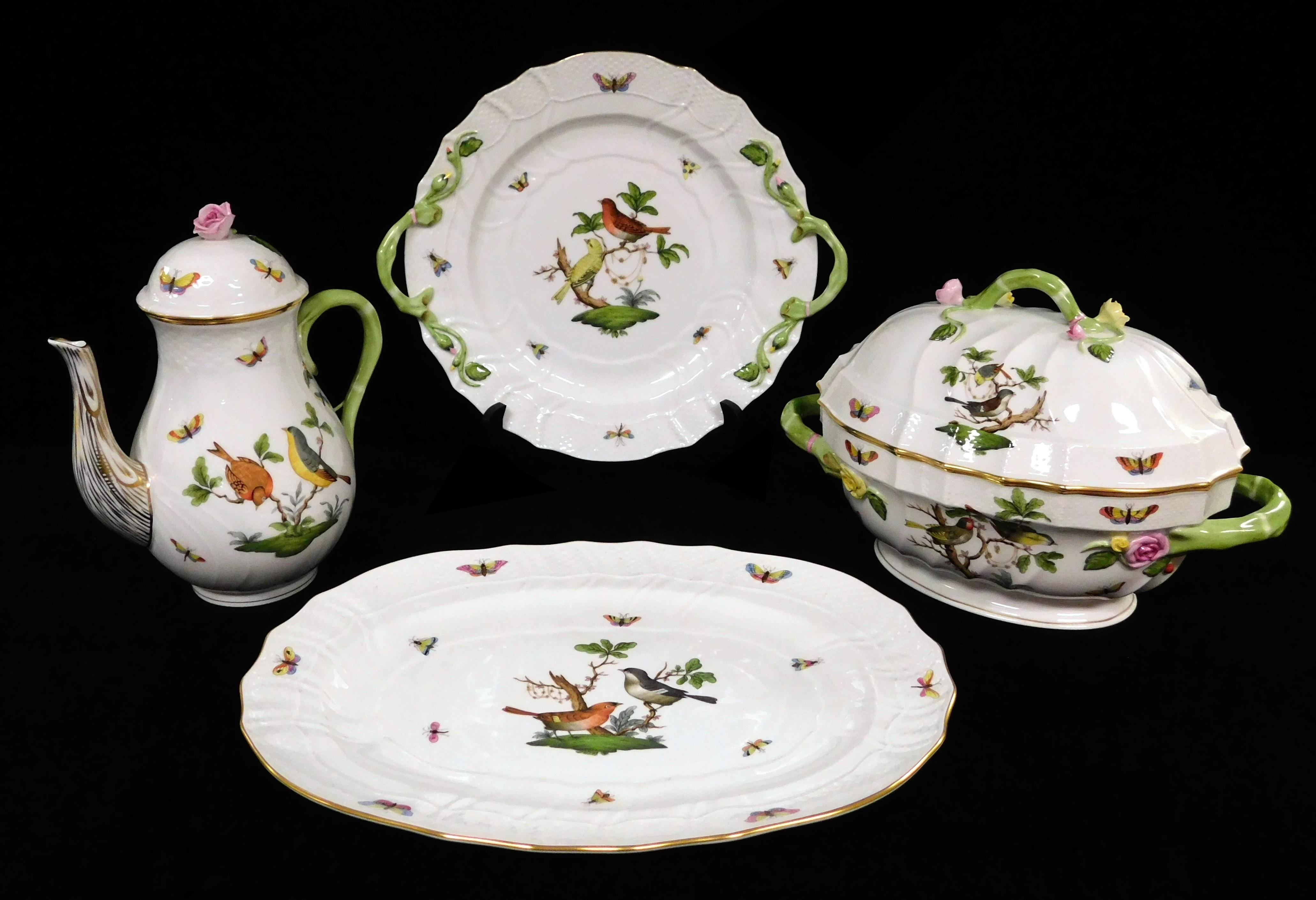 "Herend ""Rothschild Bird"" pattern porcelain dinner and serving ware, sixty-five pieces, hand-painted bird, flower, and butterfly deco..."