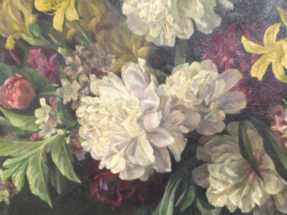 """N. Neale Stewart (American, 19th C.), """"Floral Still Life with Peonies, Lilies and Tulips"""", 1889, oil on canvas, signed lower left, d..."""