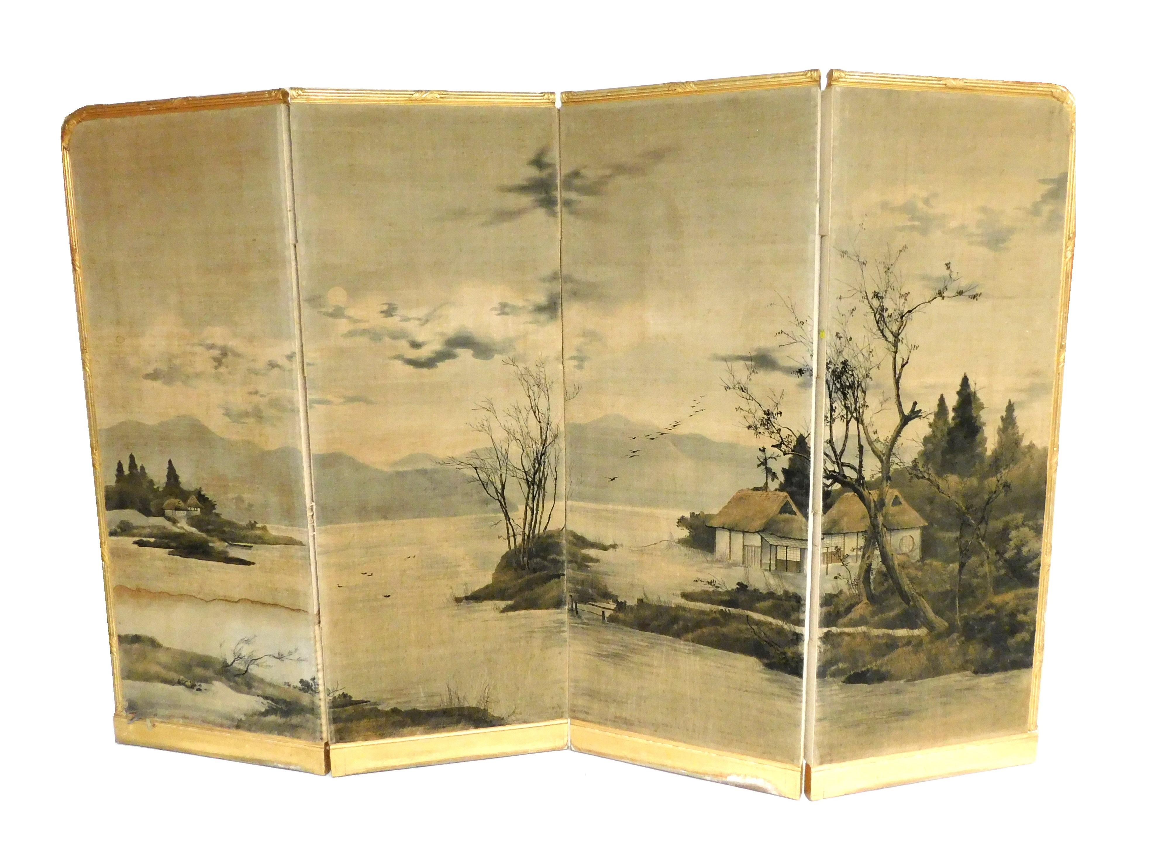Four-panel floor screen with gilded carved frame, panels are handpainted on fabric, the scene depicts landscape on fabric with a hou...