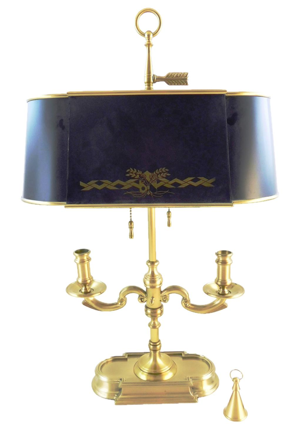 Brass bouillotte lamp, 20th C., ring handle finial over two lights, each with string pull, standard with two candleholders with remo...