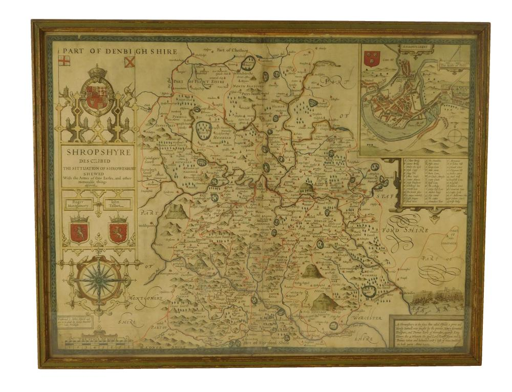John Speed (England, 1552-1629), two hand-colored maps on paper: one of Northumberland with town planning, royal arms, and Roman scu...