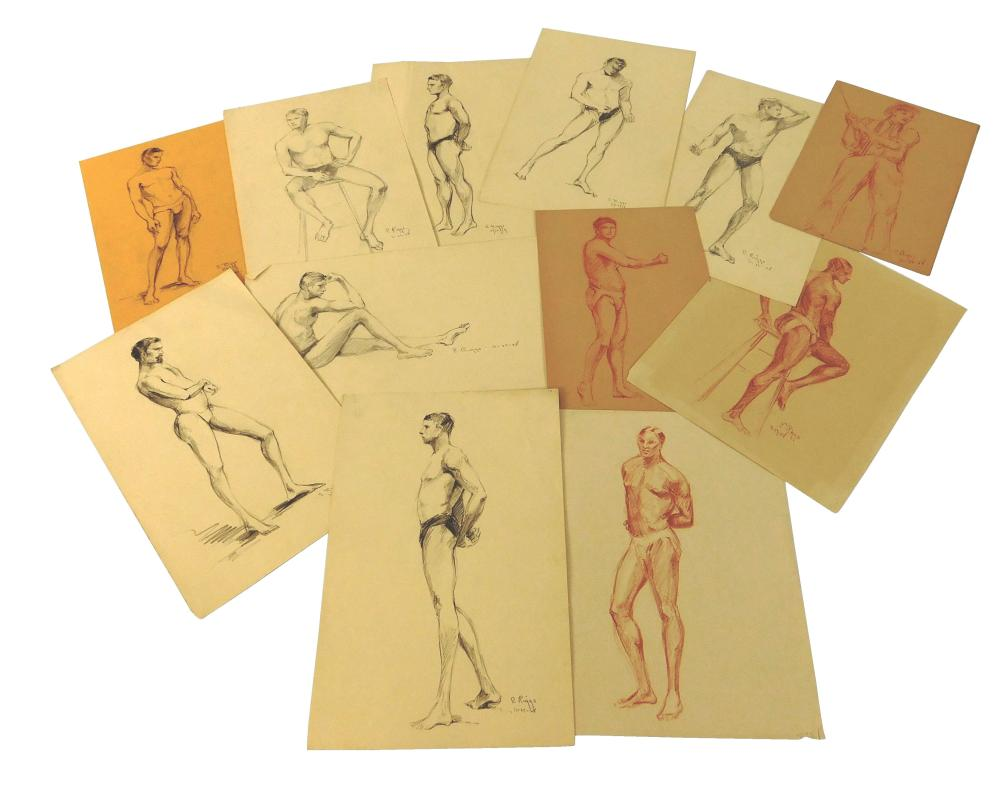 E. Riggs, thirteen original drawings by, c. 1928 -29, unframed, including: seven graphite; five red conte crayon; and one charcoal,...