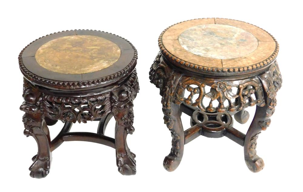 ASIAN: Two marble inset stands, Chinese, 19th/20th C., round with carved frieze and legs: one with masques to knees and ball and cla...