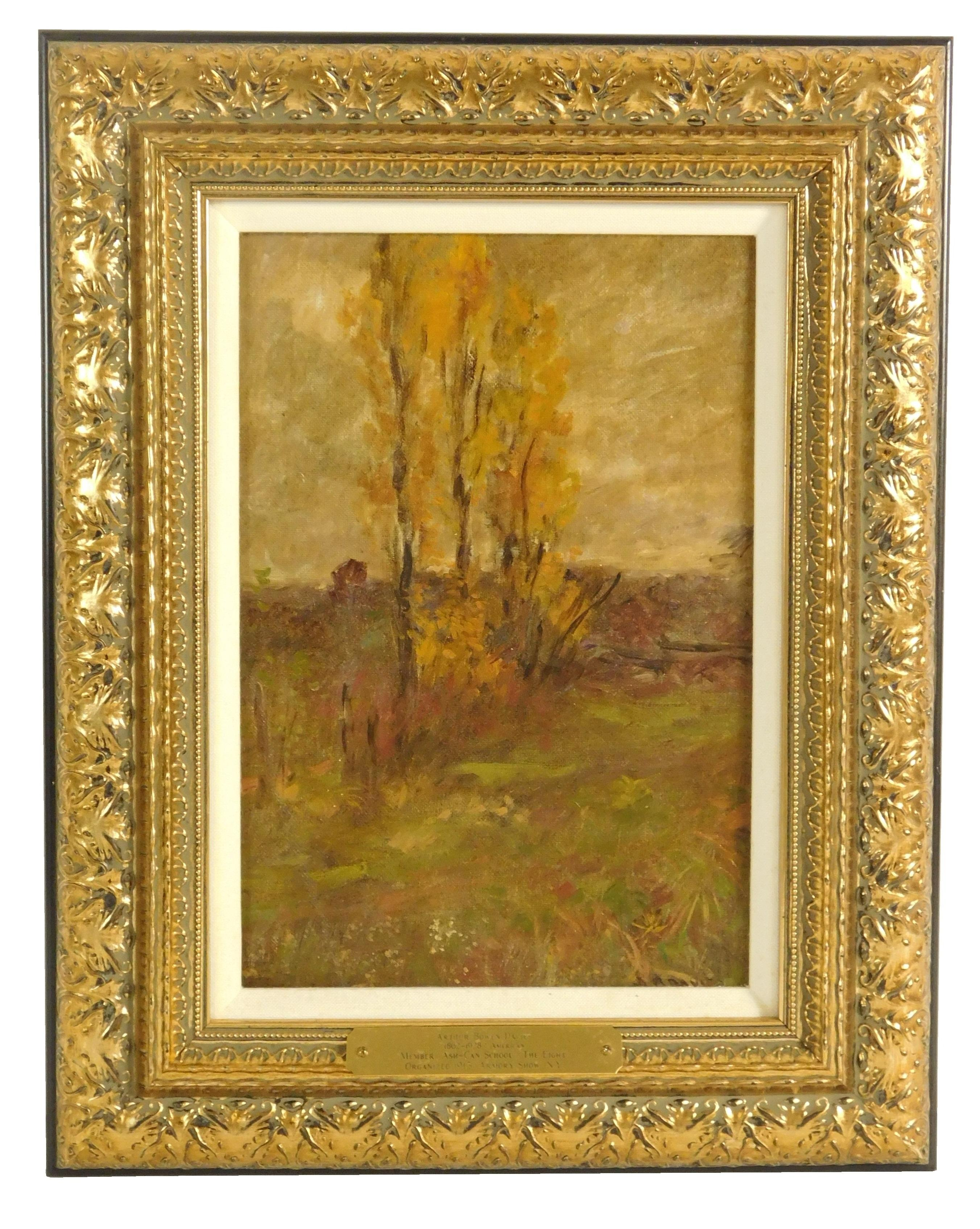 Arthur B. Davies (American, 1862-1928), oil on canvas over board, depicts fall landscape with group of trees with golden yellow leav...