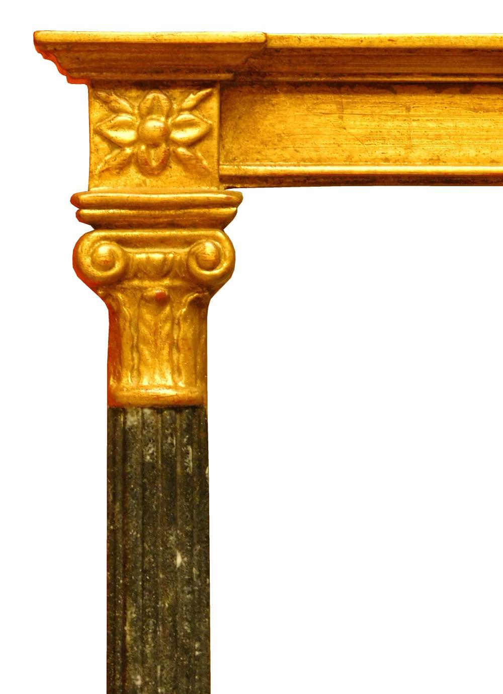 Federal style beveled wall mirror, gilded and carved frame with fleurette blocks at corners, faux blue stone reeded pilaster sides, ...
