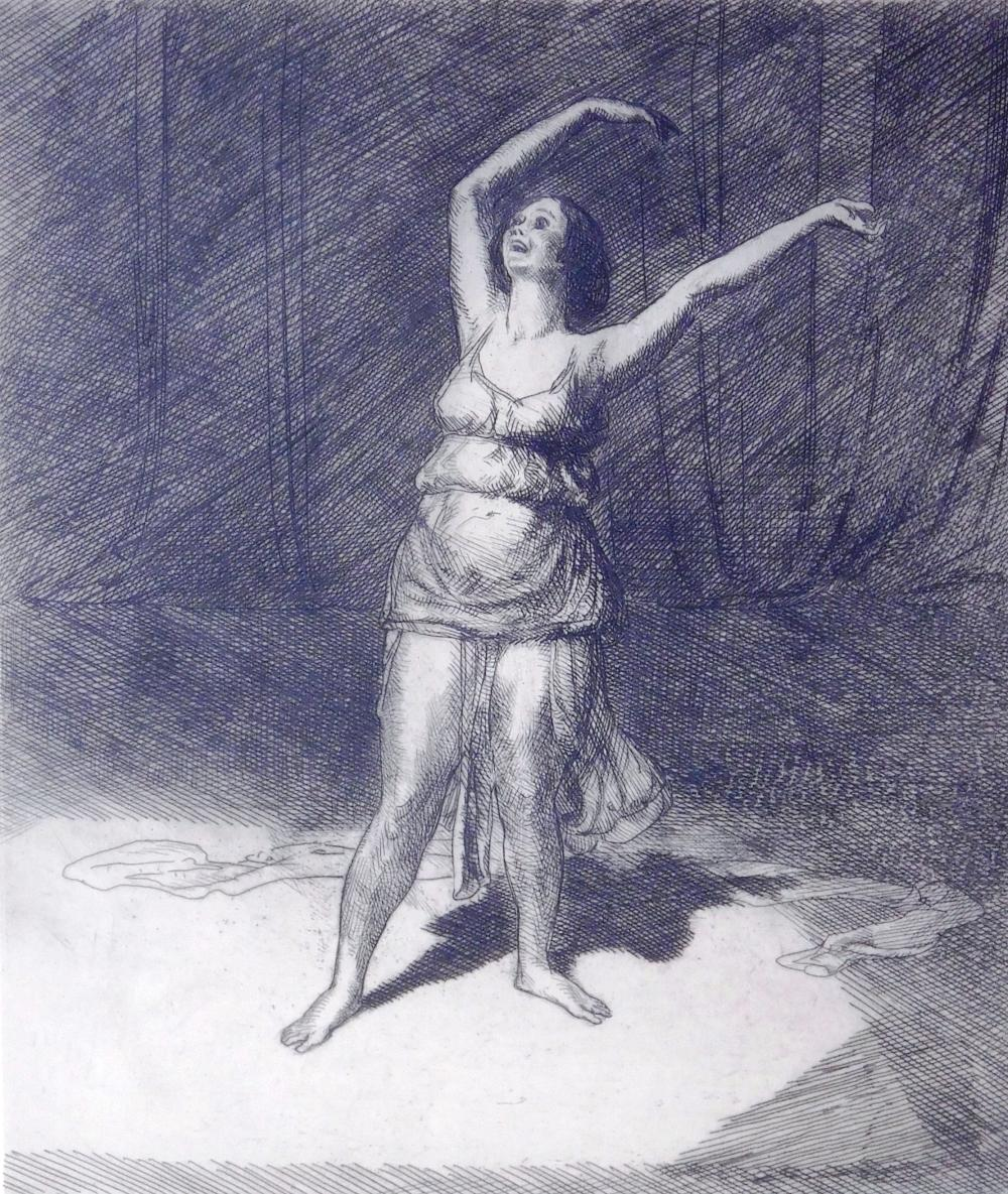 "John Sloan (American, 1871 - 1951), ""Isadora Duncan"", 1915, etching, matted, inscribed 100 proofs, ed: 30 in all states, Morse 172,..."