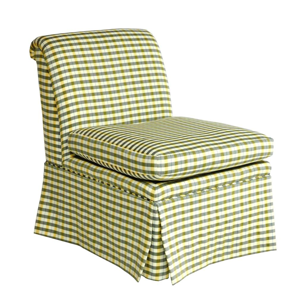 Armless upholstered chair by Baker, yellow and blue and grey check upholstery, roll back, full skirt, removable seat cushion, labels...