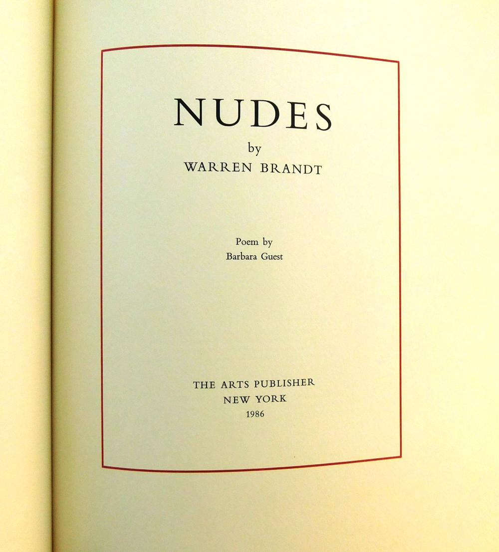 """Warren Brandt """"Nudes"""" limited edition book, 1986, inscribed 37/100 and signed in graphite, with original etchings, held in blue clot..."""