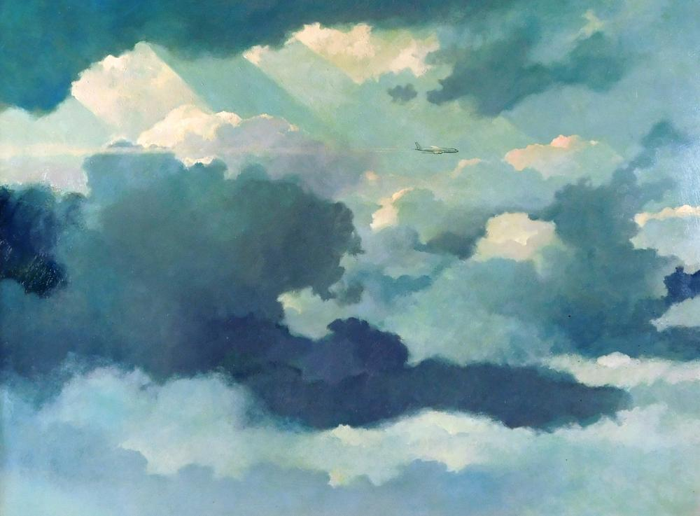 """Eric Sloane (New York/Connecticut, 1905 - 1985), """"Roof of Weather"""", oil on board, depicts small jet soaring through clouds, signed l..."""