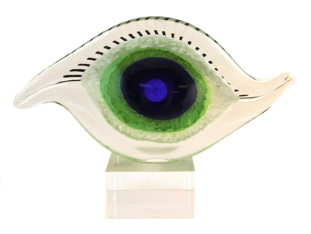 """Four Contemporary glass sculptures, 20th C., unsigned, details include: eye form mounted on lucite base, overall: 7"""" h.; Murano glas..."""