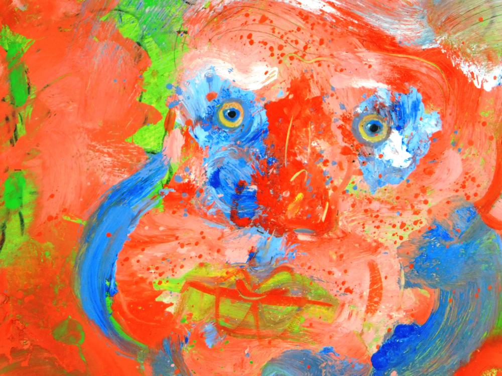 Robert Beauchamp (American, 1923 - 1995), self-portrait, acrylic on artist board, signed lower right, depicts an Expressionist style...