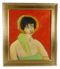 Humbert Howard (American, 1905-1990), oil on canvas, depicts a young woman against a red background wearing a green top with a green...