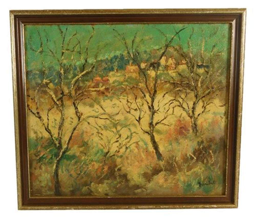 Modern landscape, oil on burlap, depicts three bare trees against white, brown and blue landscape with village in distance, foregrou...