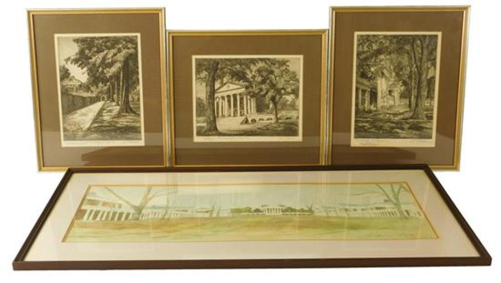 "Four prints of the University of Virginia campus, three being Joseph Raskin (American, 1897-1981) pencil signed etchings on paper, ""..."