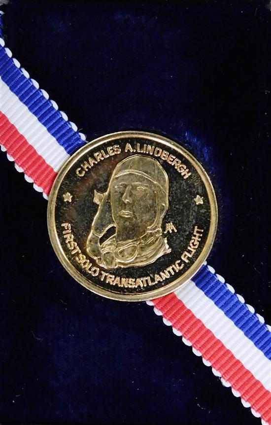 14K Gold token, Charles Lindbergh, Danbury Mint, in clear plastic box, 2.2 dwt.