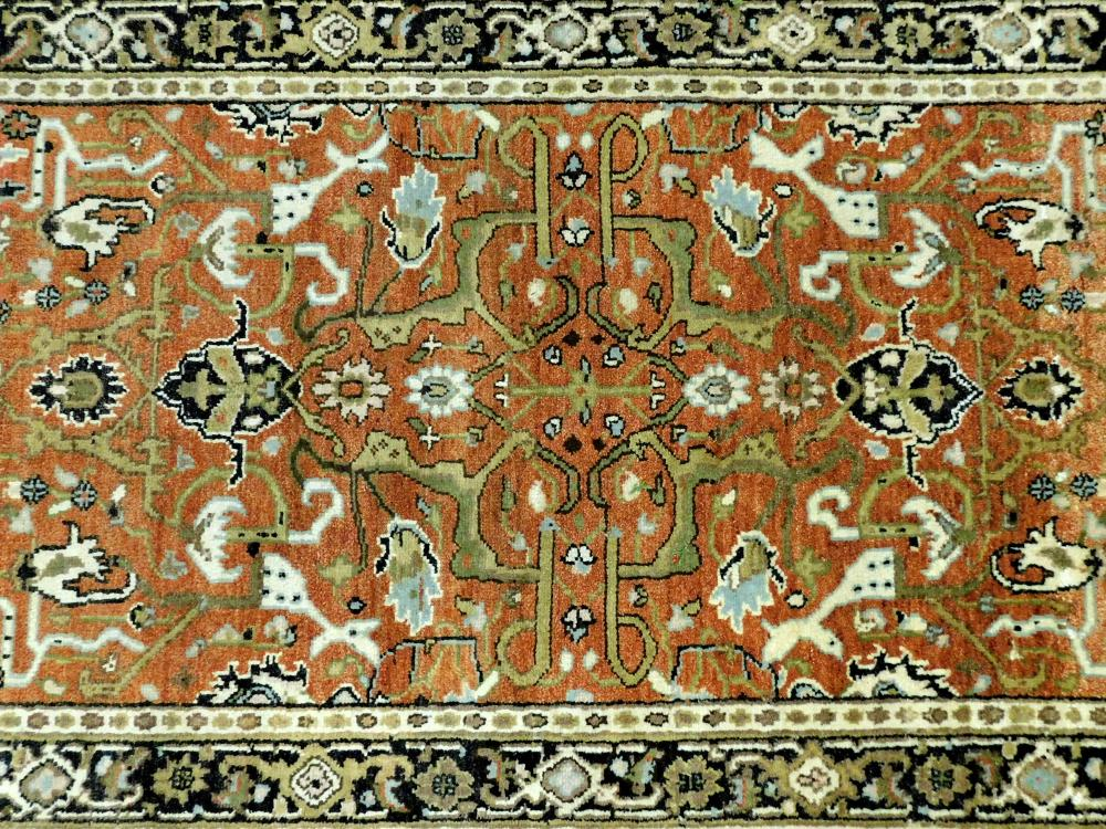 """RUG: Serapi, 4'10"""" x 8', hand-knotted, 100% wool on cotton, tan, ivory and charcoal vine work on terracotta ground, charcoal border,."""