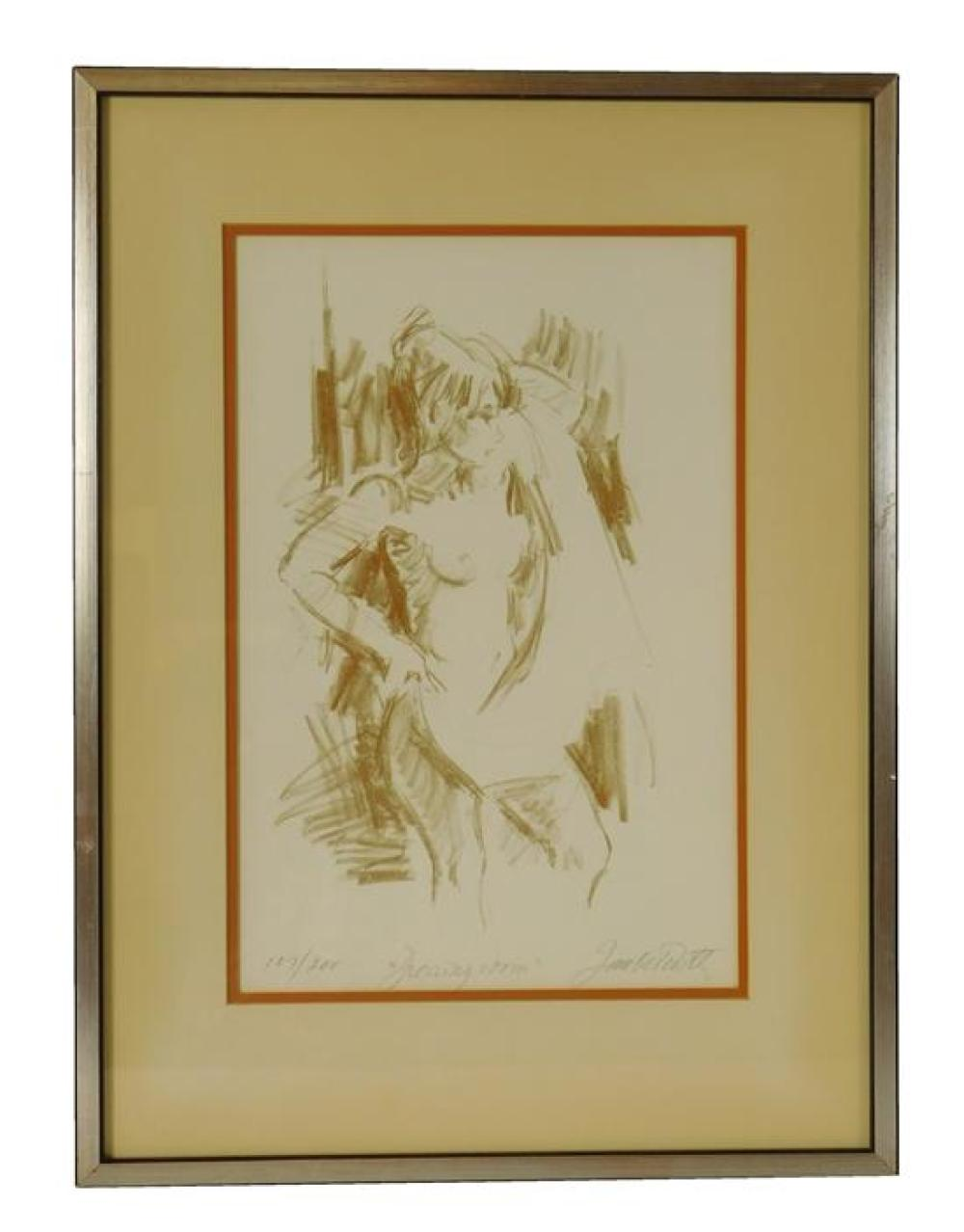 Four signed figure studies including: Ernie Barker, watercolor and pencil on paper, depicts a seated nude female in yellow accented...