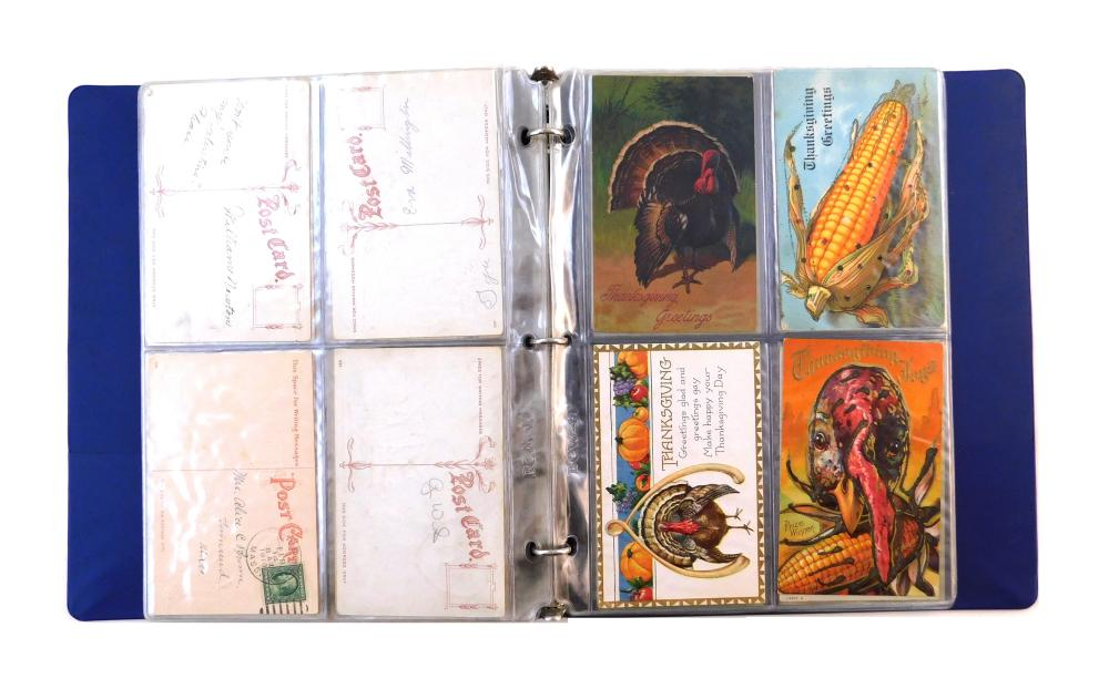 Sixty-four Early 19th C. post card collection, this grouping consists of novelty Christmas, Easter, Valentine's, Thanksgiving, birth..