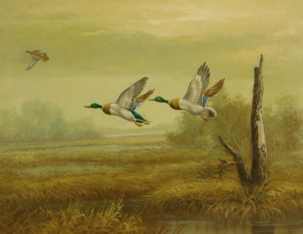 M.P. Elliott (American, 20th C.), oil on canvas, depicts three mallard ducks flying over a marsh, dead tree trunk on right, one duck...