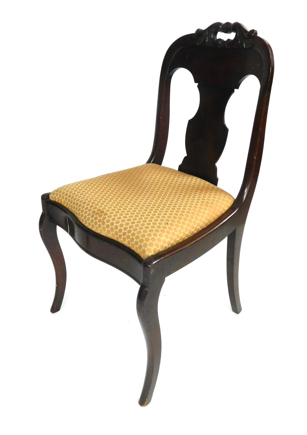 Two Empire style mahogany chairs along with small stand, 19th/ 20th C., mahogany, details include: one armchair and one side chair w...