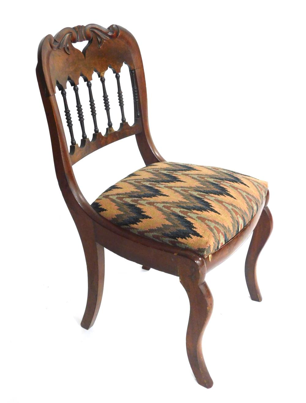 Late 19th/ early 20th C. side chair and a stand by Old Colony, details include: side chair with pierced and carved scrolling crest o...