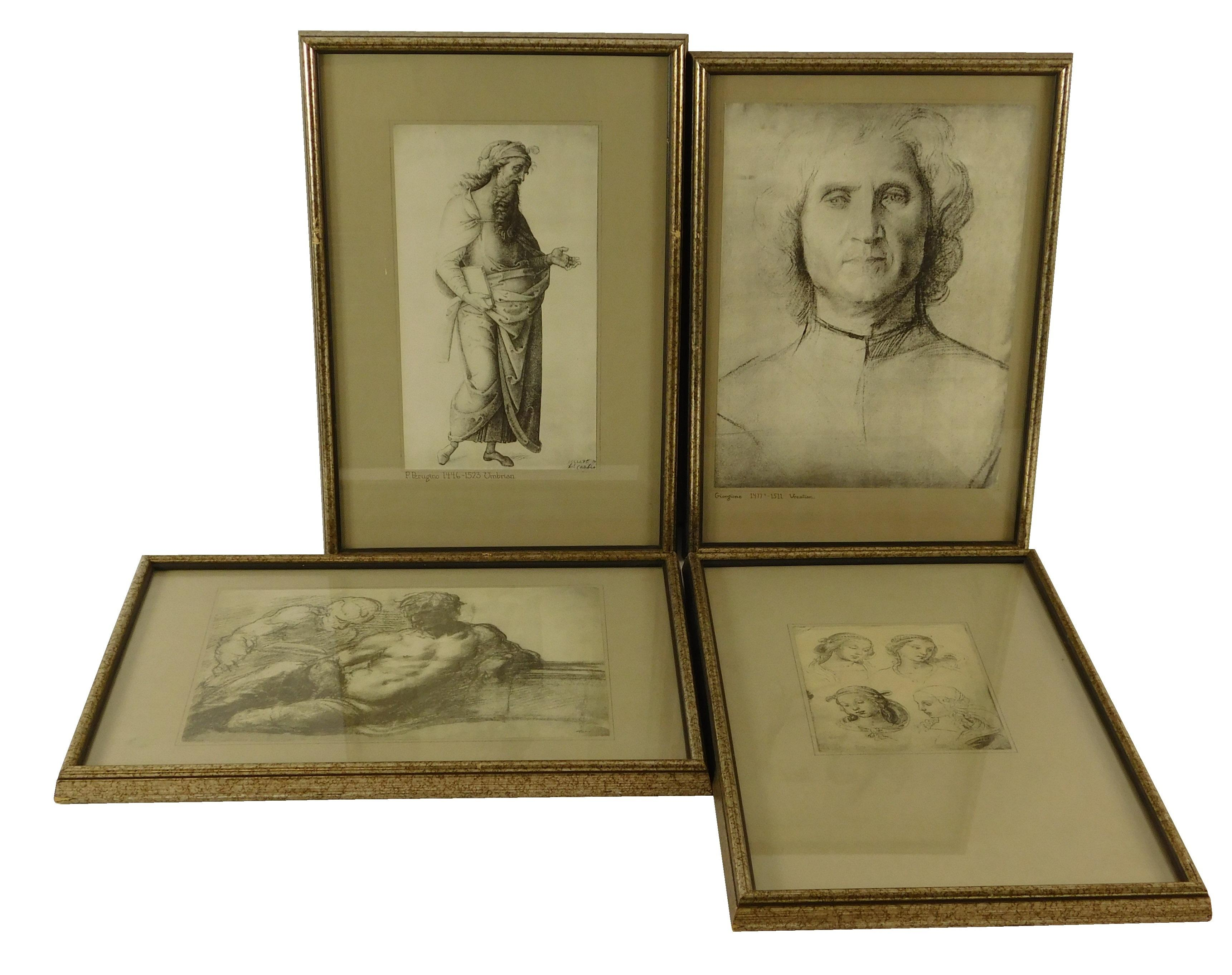 Four framed reproduction prints of drawings by Italian Old Masters, including: after Giorgione (Venetian, 1477-1511), portrait of a...