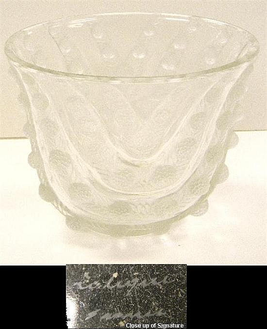 """Lalique clear and frosted glass vase,""""Vichy"""", introduced in 1937, engraved """"Lalique/ France"""" on base, 6 3/4"""" h."""