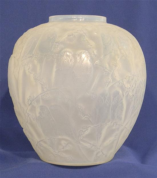 "R. Lalique opalescent glass vase, ""Perruches"", c. 1919, engraved ""R. Lalique"" in script on base, 10 1/2"" h., small nick to rim."