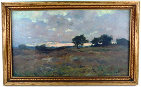 Arthur Wesley Dow (American, 1857-1922) oil on canvas laid down on masonite, signed LR, landscape depicting meadow with cloudy sky a...