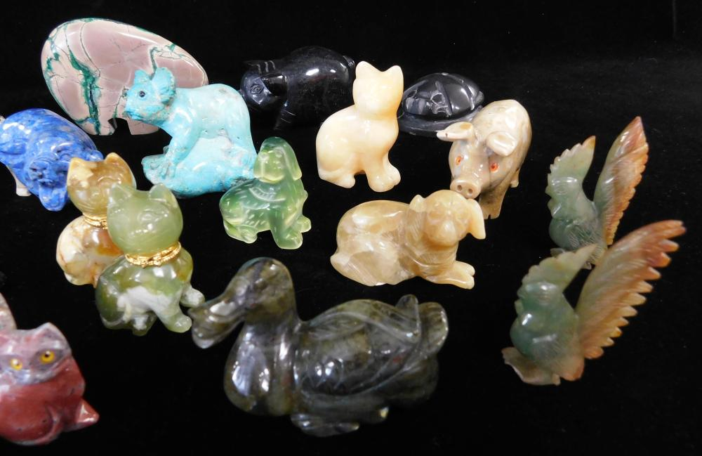 Carved hardstone animals, 20+ pieces including: cats, dogs, roosters, pigs, horses, camel, etc., many smaller in size, stones includ...