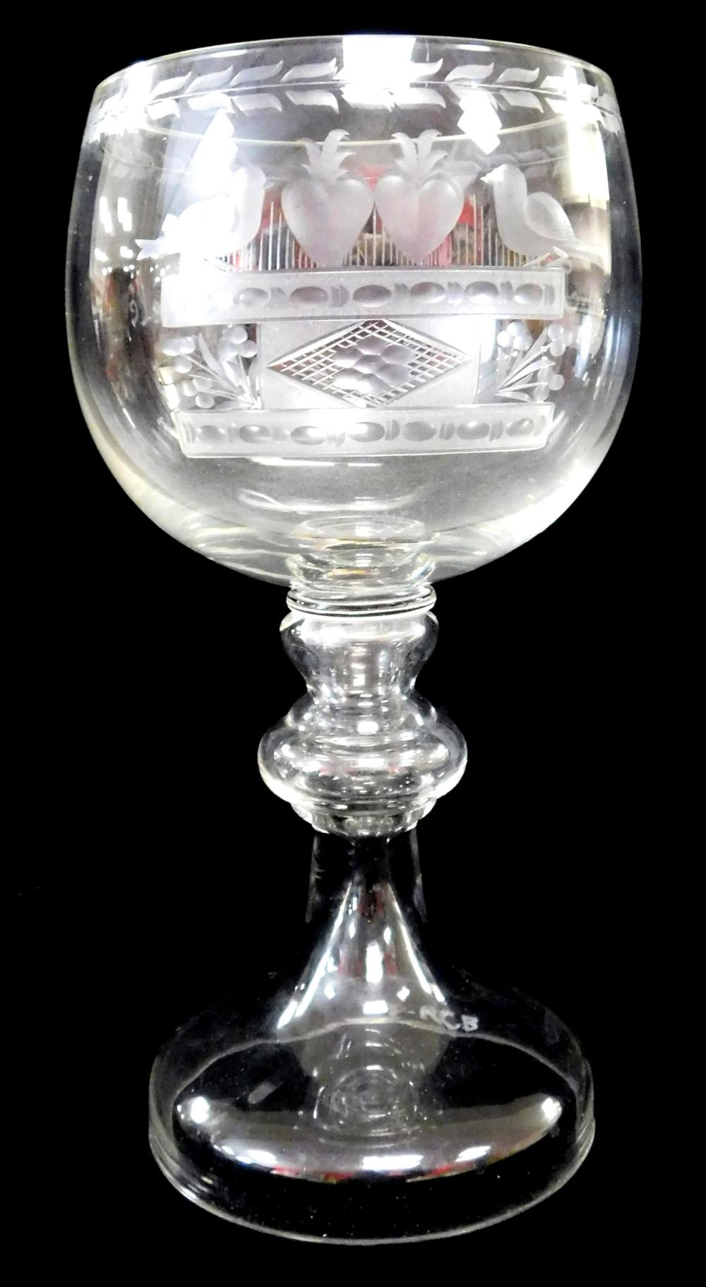Steuben, Tiffany & Co., Cassini, etc., seven pieces of fine glass, including: large Steuben teardrop shaped vase with rolled rim, si...