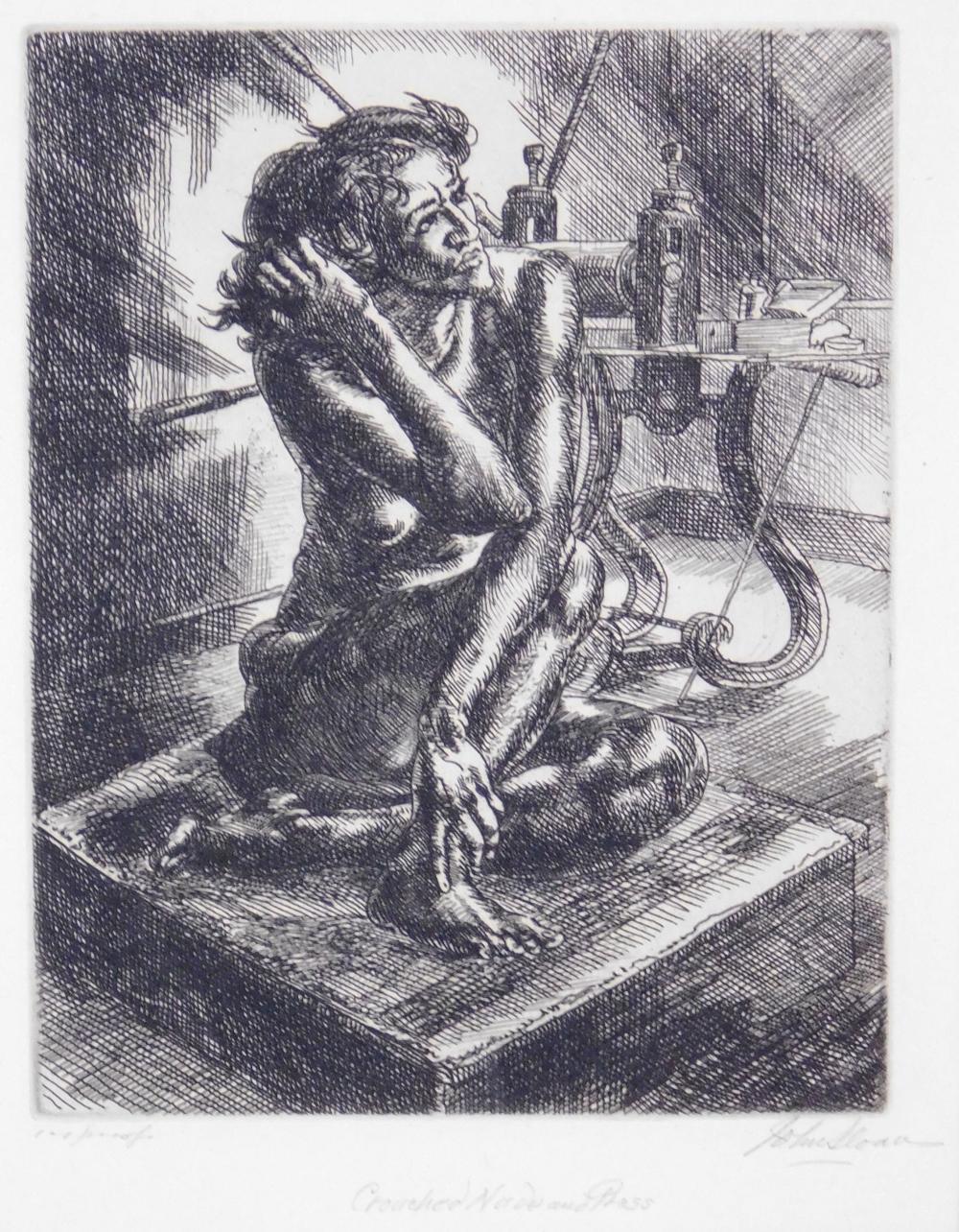 Lot - John Sloan (American, 1871-1951), Crouching Nude