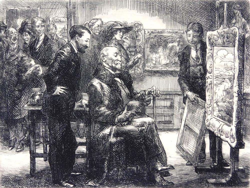 """John Sloan (American, 1871-1951), """"The Picture Buyer"""", 1911, unframed etching, Ed: 100, signed with pencil lower right, inscribed """"1..."""